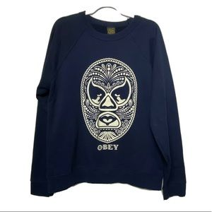 OBEY navy blue pullover sweater Large